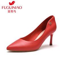 富贵鸟(FUGUINIAO)新品女单鞋 时尚头层羊皮尖头套脚酒杯跟女高跟鞋女婚鞋 F67Y611K