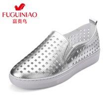富贵鸟(FUGUINIAO)单鞋女乐福鞋女鞋休闲鞋女韩版透气鞋 R69E033C