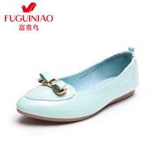 富贵鸟(FUGUINIAO)2016新款女鞋金属蝴蝶结扣尖头平底单鞋浅口女鞋 R67Y610-1