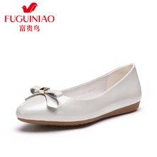 富贵鸟(FUGUINIAO) 时尚灵动蝴蝶结尖头套脚女士单鞋女婚鞋女鞋子 R62E603-1