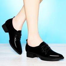 莱卡金顿 2016新款单鞋女粗跟英伦尖头平底时尚女鞋工作鞋欧美 LK/6031