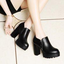 莱卡金顿 新款厚底粗跟单鞋女高跟防水台OL优雅时尚休闲女鞋 LK/6010