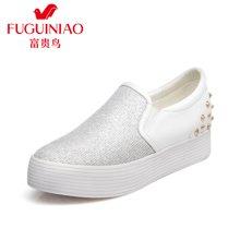 富贵鸟(FUGUINIAO)时尚套脚舒适女鞋女平底松糕鞋乐福鞋女休闲鞋  M69B699C