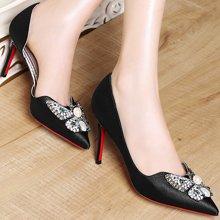 莫蕾蔻蕾秋季新款高跟尖头水钻女鞋子细跟蝴蝶结单鞋 6q322