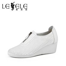 LESELE/莱思丽春季牛皮休闲女鞋子 新款圆头镂空坡跟女单鞋LA0613