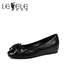 LESELE/莱思丽春季蝴蝶结休闲牛皮女鞋 圆头内增高浅口单鞋LA0137
