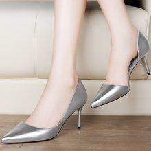 莫蕾蔻蕾秋款时尚尖头鞋职场女性感细跟单鞋 6Q321