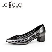 LESELE/莱思丽新牛皮镂空尖头单鞋女 欧美粗高跟浅口鞋LA5644