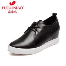富贵鸟(FUGUINIAO)头层牛皮女鞋 单鞋女平底鞋小白鞋内增高女鞋  M69F105C