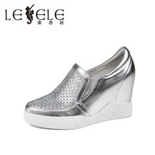 LESELE/莱思丽春季休闲女鞋子 圆头牛皮烫钻内增高深口单鞋LA0286
