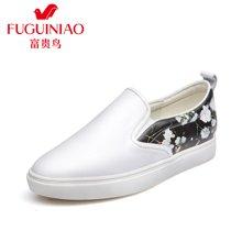 富贵鸟(FUGUINIAO)时尚头层牛皮套脚女鞋单鞋女平底鞋韩版乐福鞋印花鞋  M69M628C