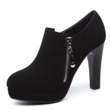 盾狐女鞋圆头单鞋女粗跟2016新款防水台拉链高跟鞋 2821