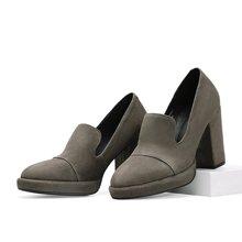专柜新款 色非欧美新款粗跟圆头高跟女休闲防水台单鞋