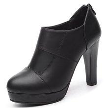 盾狐2017新款及踝靴女高跟防水台粗跟鞋后拉链单鞋 5101