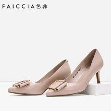 专柜新款 色非 新款韩版时尚方扣尖头高跟鞋休闲浅口公主女鞋