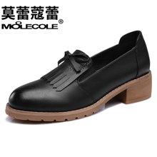 莫蕾蔻蕾 2017新款方跟粗跟圆头流苏女鞋蝴蝶结女单鞋 6Q350