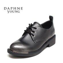 Daphne/达芙妮2016秋新款潮英伦风复古粗跟皮鞋女绑带防水台单鞋