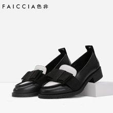 专柜新款 色非新款欧美圆头单鞋女休闲粗跟蝴蝶结女鞋