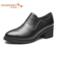 红蜻蜓女鞋 2016新款秋季小尖头方跟高跟深口休闲女单鞋 6581