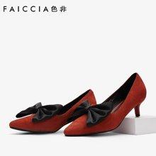 色非新款细跟女鞋尖头单鞋蝴蝶结高跟鞋通勤