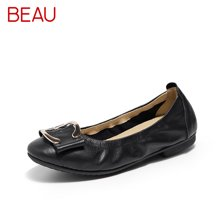 BEAU新款工作鞋女黑色空姐鞋平底浅口单鞋妈妈鞋22116