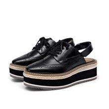 BeauToday新款松糕鞋女厚底包头半拖鞋女麻绳英伦风凉鞋33003