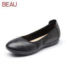 BEAU 工作鞋女黑色浅口单鞋女平底鞋圆头妈妈鞋大码女士小皮鞋15006