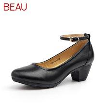 BEAU黑色高跟鞋女妈妈鞋中老年工装鞋粗跟工作鞋女黑色酒店通勤鞋15020