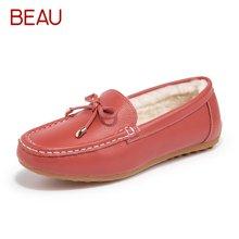 BEAU鞋子女冬纯羊毛豆豆鞋女加绒棉鞋皮毛一体毛毛鞋孕妇鞋妈妈鞋A27807