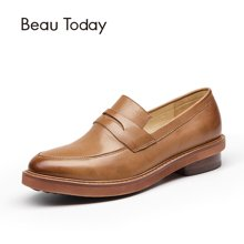 BeauToday乐福鞋女厚底平底复古学院风英伦风女鞋浅口单鞋粗跟27030