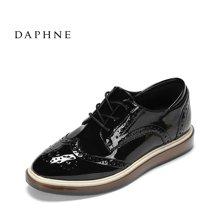 Daphne/达芙妮2017春优雅尖头布洛克女鞋 时尚英伦系带平跟牛津鞋