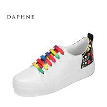 Daphne/达芙妮2017春夏新款休闲圆头小白鞋 时尚系带拼色厚底单鞋