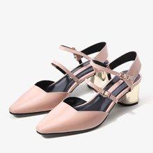 色非女鞋2017春季新款欧美尖头单鞋女粗跟高跟一字扣带职业女鞋