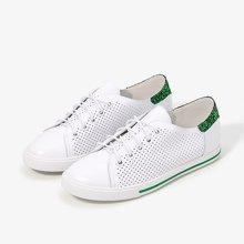 色非春季新款舒适透气真皮镂空休闲系带平底鞋内增高单鞋女鞋