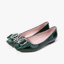 色非2017春季新款蝴蝶结低跟浅口单鞋女平底方头套脚休闲鞋女鞋