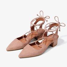 色非2017春季新款欧美女鞋尖头单鞋女粗跟系带百搭性感潮A063P