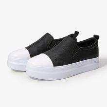 色非2017春季新款乐福鞋女厚底平底内增高女鞋松糕底一脚蹬女鞋