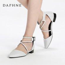 Daphne/达芙妮17春新舒适方跟单鞋 时尚尖头一字扣女鞋