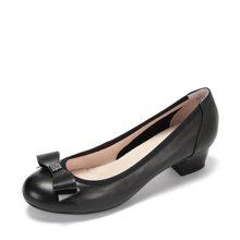 Daphne/达芙妮春季真皮浅口单鞋 休闲蝴蝶结粗跟通勤鞋
