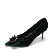 Daphne/达芙妮新款舒适通勤女鞋 复古绒面扣饰细跟单鞋