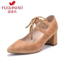 富贵鸟羊绒单鞋 女粗跟女鞋 系带高跟鞋复古女鞋 F77Y613S