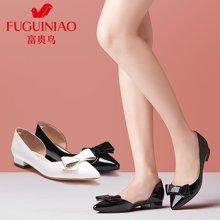 富贵鸟(FUGUINIAO)女鞋 浅口女鞋单鞋蝴蝶结鞋 K76G643-1