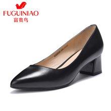 富贵鸟时尚头层羊皮尖头套脚粗跟女单鞋工作鞋F76G619K