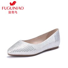 富贵鸟浅口单女鞋尖头超纤水钻平底女鞋套脚内增高女鞋 F72G761Q