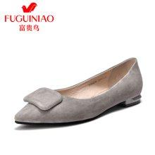 富贵鸟羊绒方扣单鞋 女低跟鞋女鞋 欧美尖头鞋 F76G609S