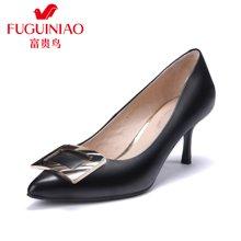富贵鸟单鞋头层羊皮简洁方扣高跟女鞋 F729762K