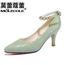 莫蕾蔻蕾2017秋季新品高跟鞋女细跟一字扣时尚百搭款  70002