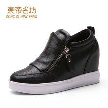 东帝名坊新款单鞋圆头时尚韩版防水台坡跟休闲鞋舒适内增高女鞋 D650TH19