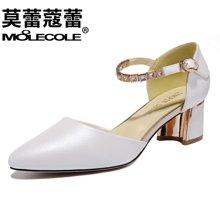 莫蕾蔻蕾2018新款尖头低跟女鞋金属链条系带粗跟单鞋 70010