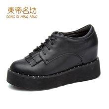 东帝名坊2018新款单鞋 厚底高跟时尚休闲鞋英伦风内增高舒适圆头女鞋 D665TH33